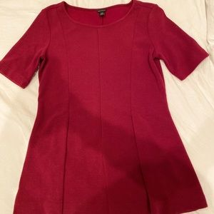 Red Pleated Short Sleeve Ann Taylor Top